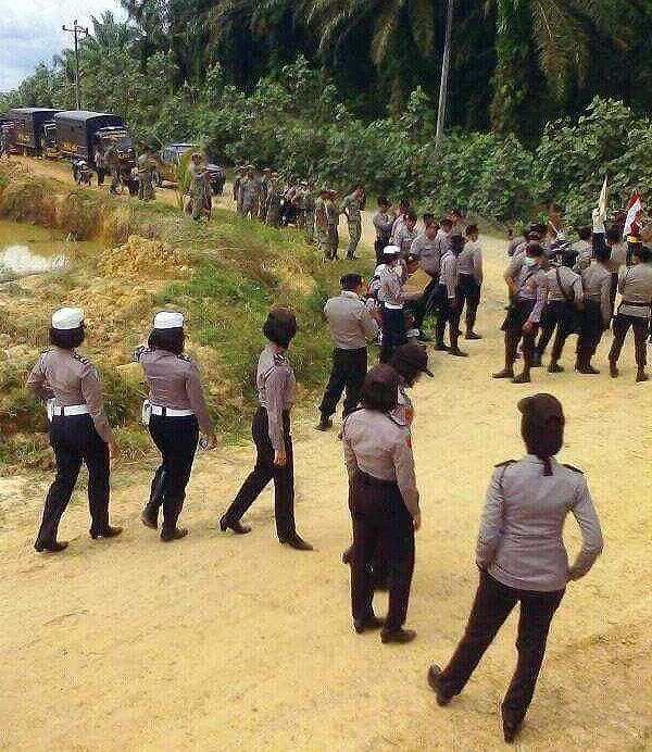 1.500 polisi dan TNI turun menggusur lahan petani SPI di Desa Mekar Jaya, Wampu, Langkat, Sumatera Utara, demi perusahaan asing