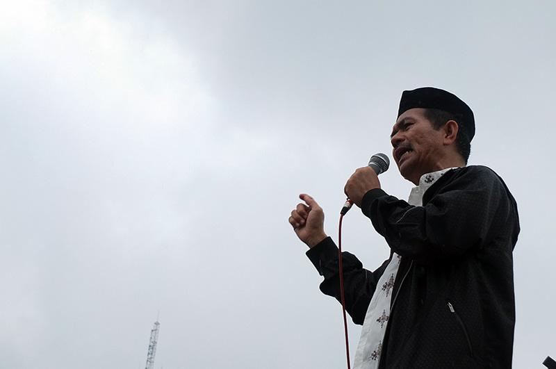Ketua Umum SPI berorasi dalam puncak peringatan Hari Tani Nasional ke-57 di Jakarta (27/09/2017)